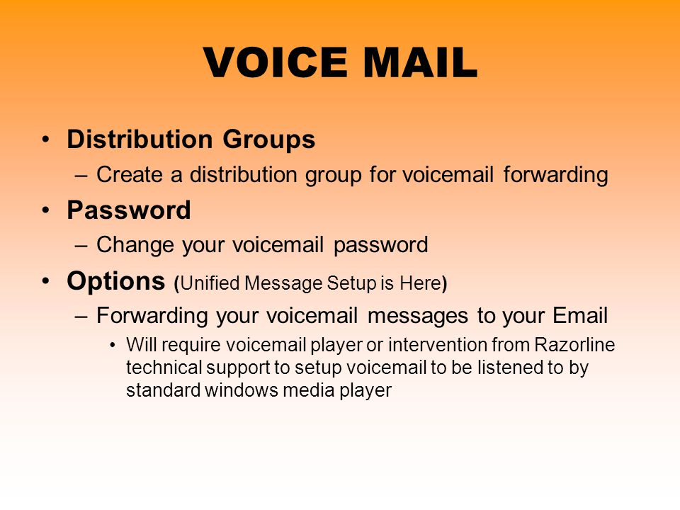 VOICE MAIL Distribution Groups Password