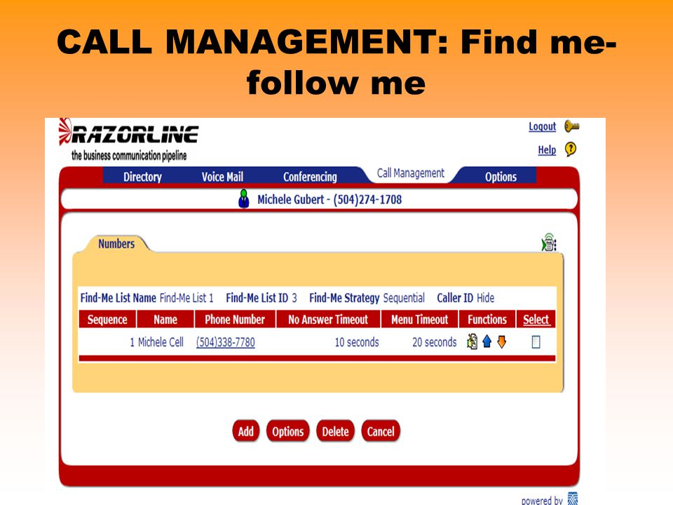CALL MANAGEMENT: Find me-follow me