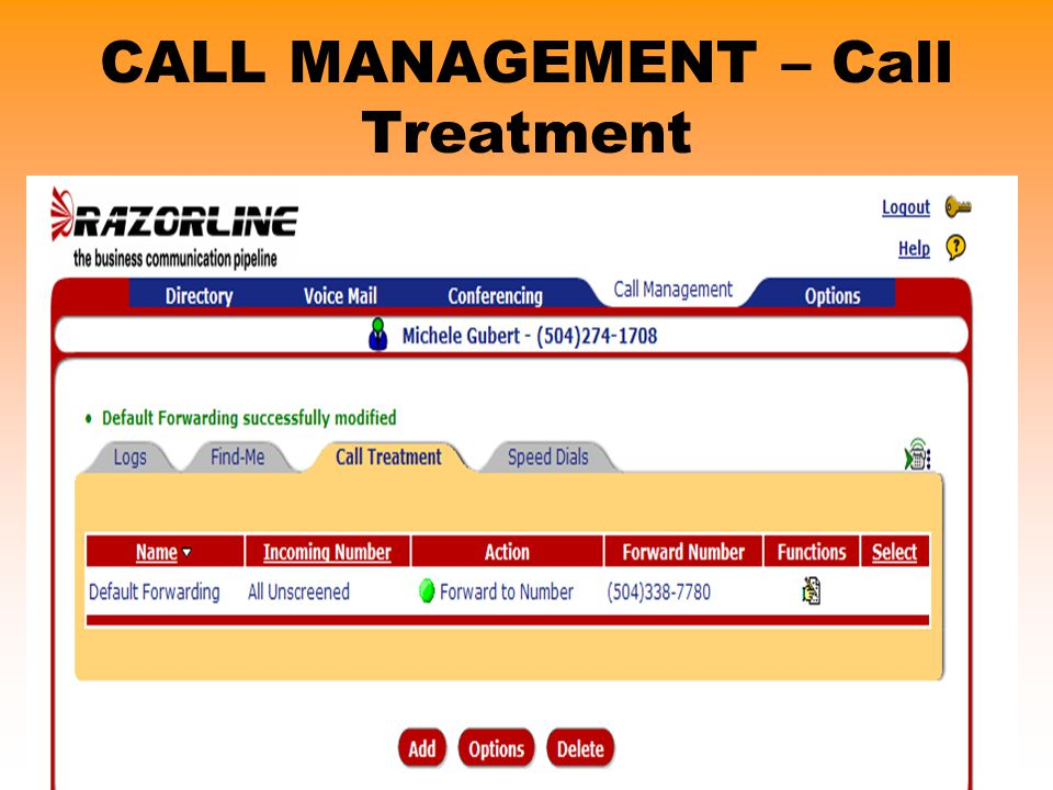 CALL MANAGEMENT – Call Treatment