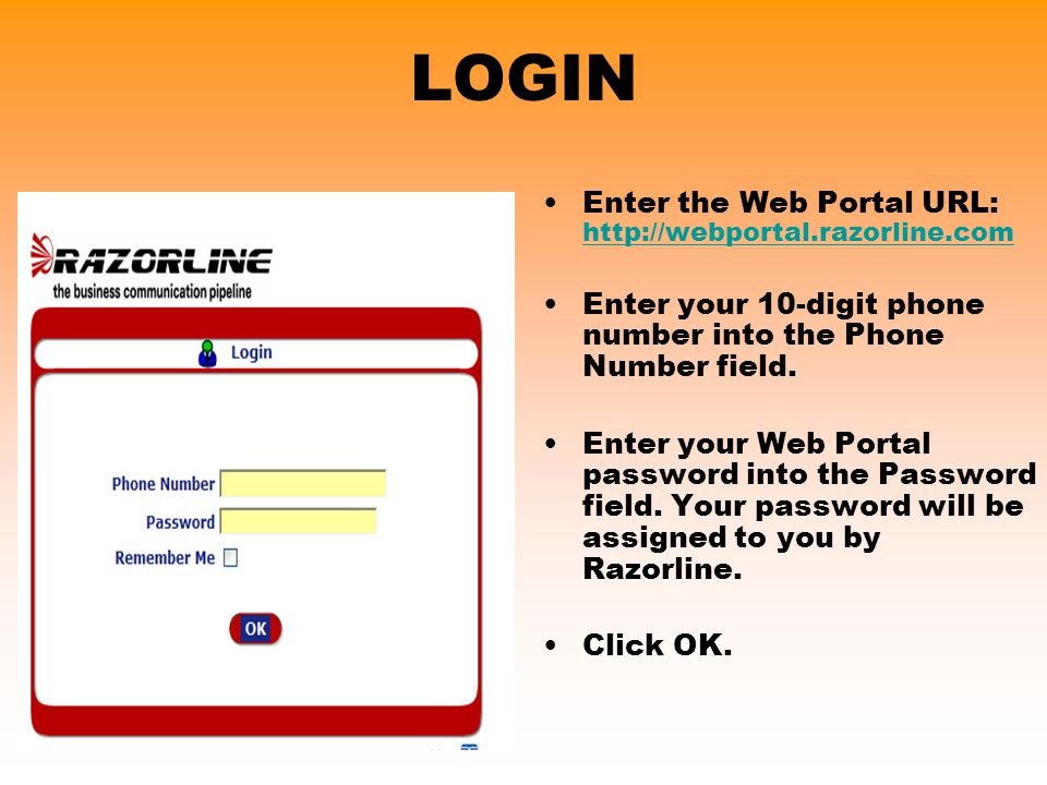 LOGIN Enter the Web Portal URL: http://webportal.razorline.com