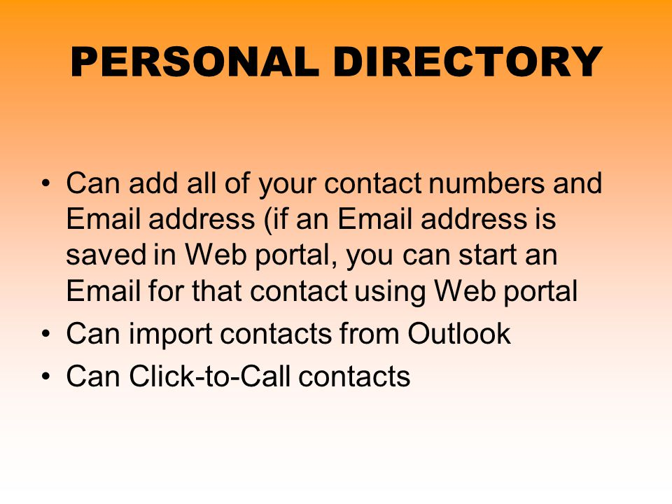 PERSONAL DIRECTORY