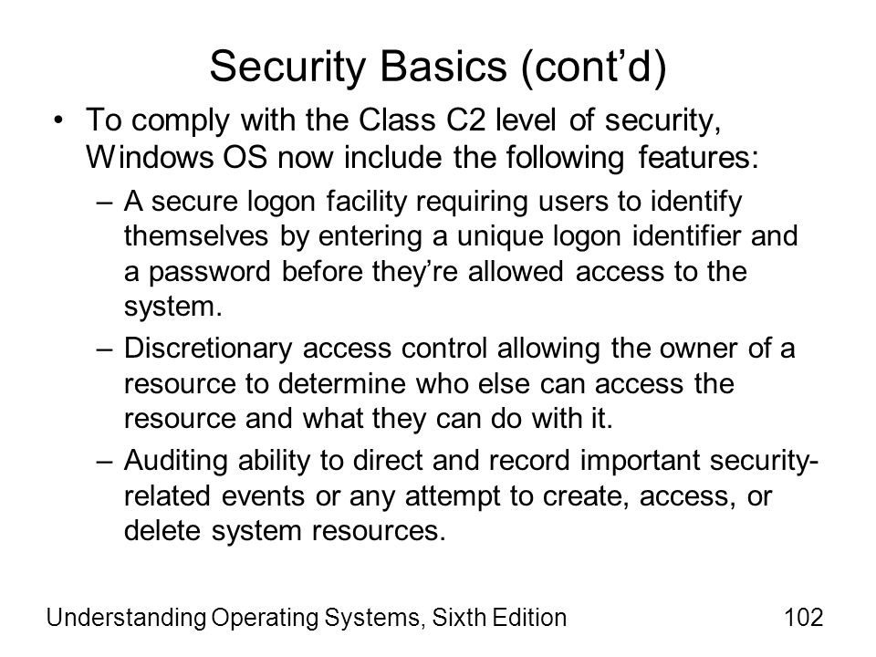 Security Basics (cont'd)