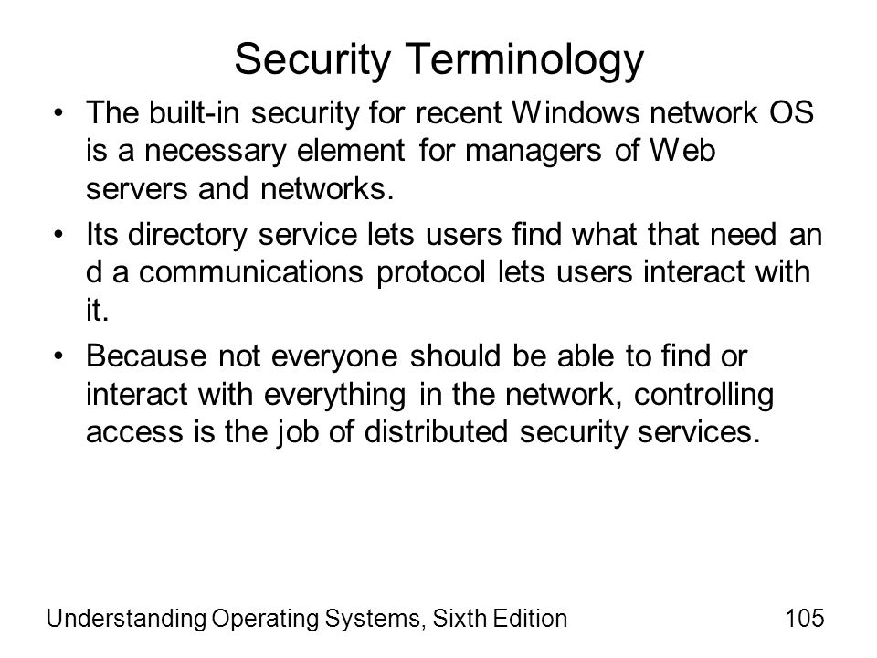 Security Terminology The built-in security for recent Windows network OS is a necessary element for managers of Web servers and networks.
