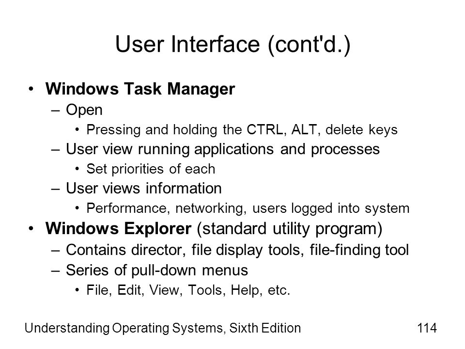 User Interface (cont d.)
