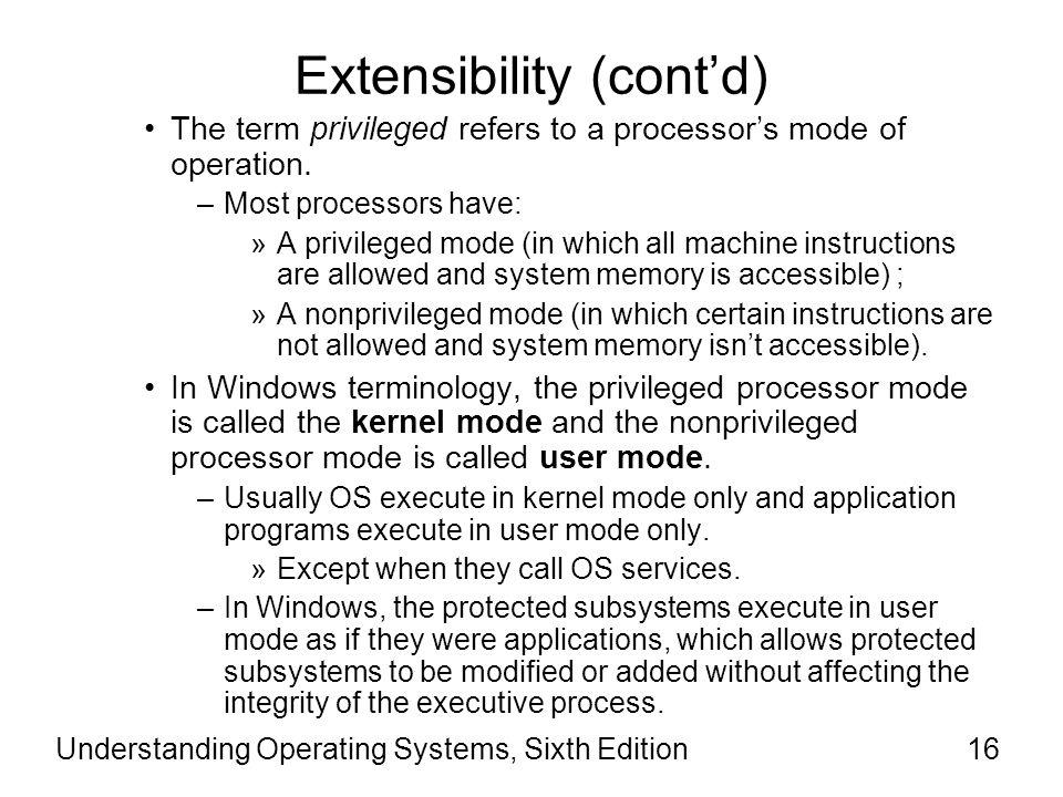 Extensibility (cont'd)