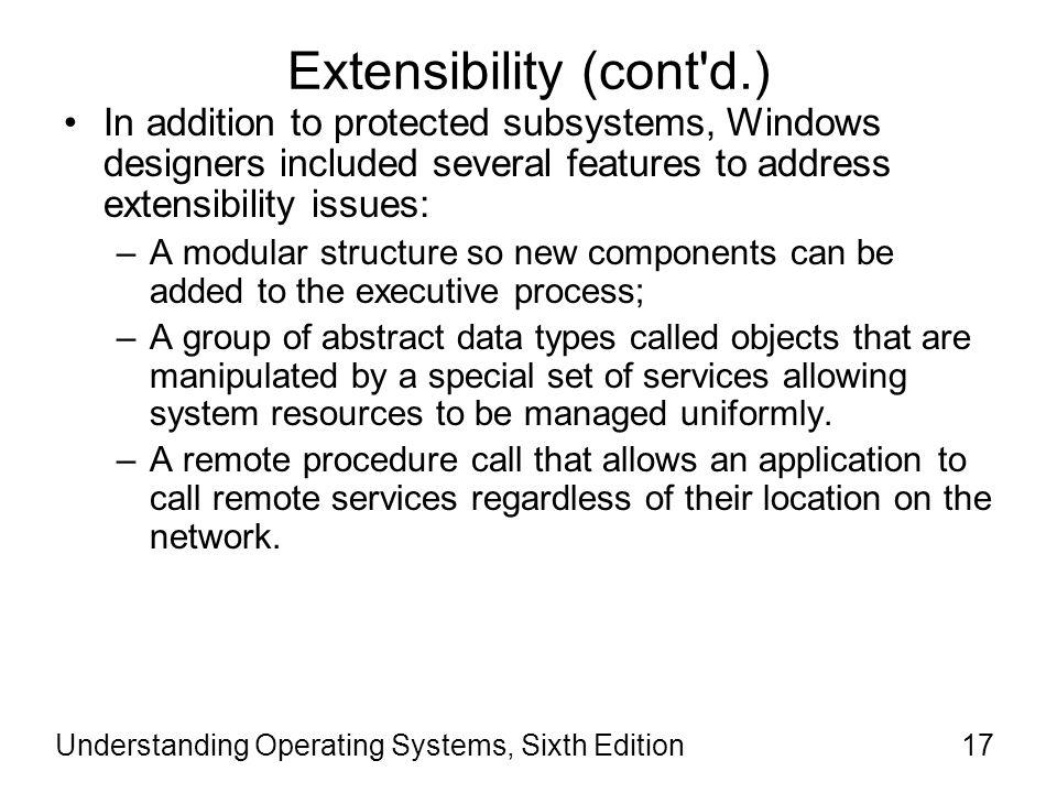Extensibility (cont d.)