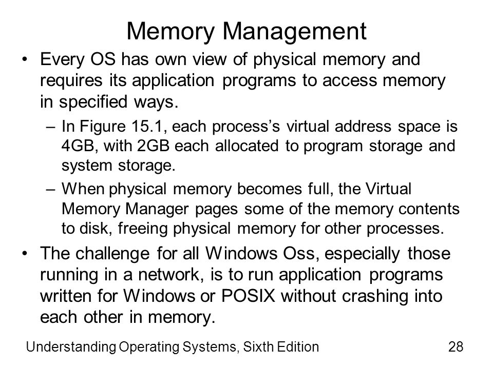 Memory Management Every OS has own view of physical memory and requires its application programs to access memory in specified ways.