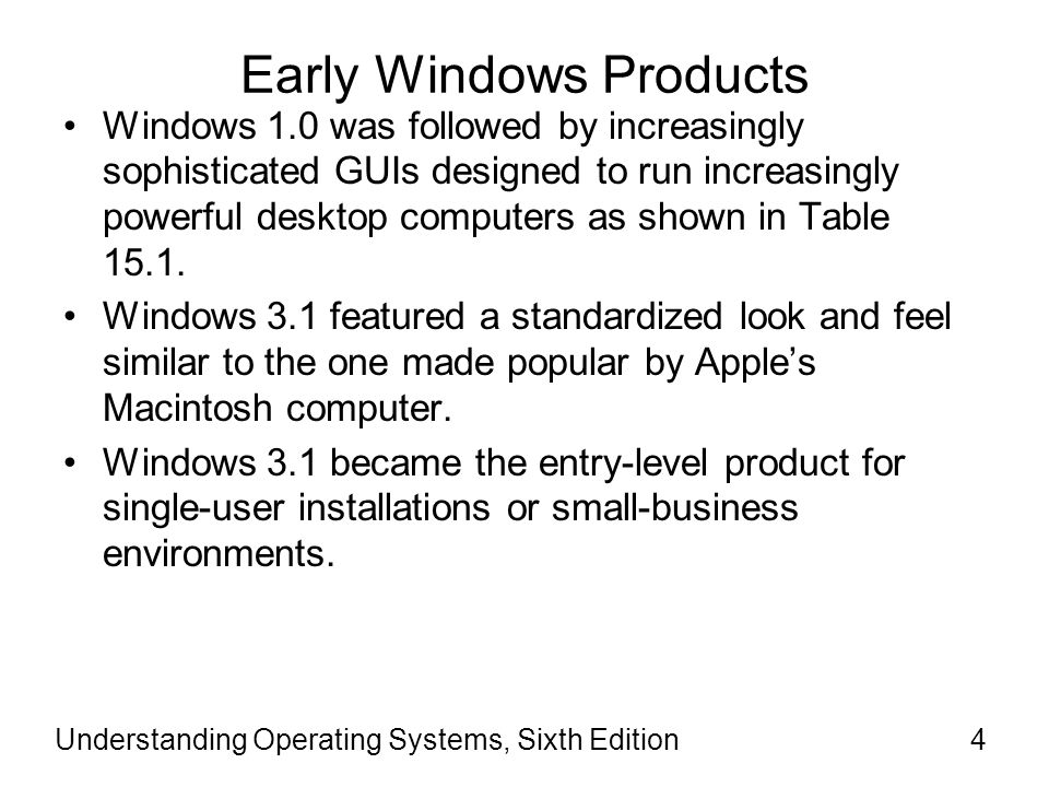 Early Windows Products