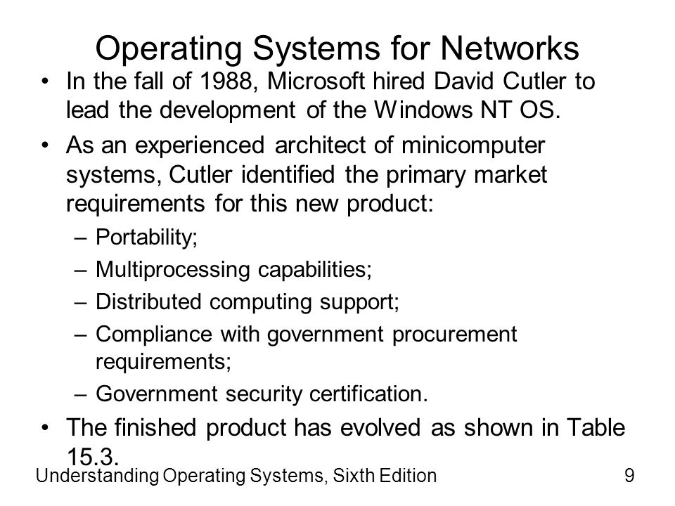Operating Systems for Networks