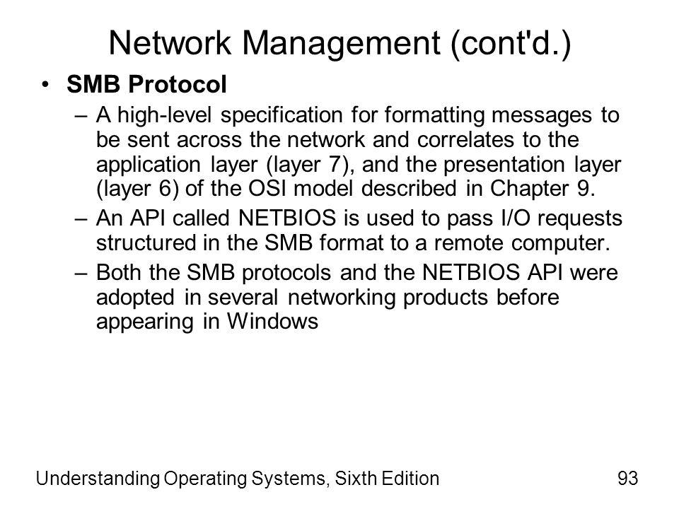 Network Management (cont d.)