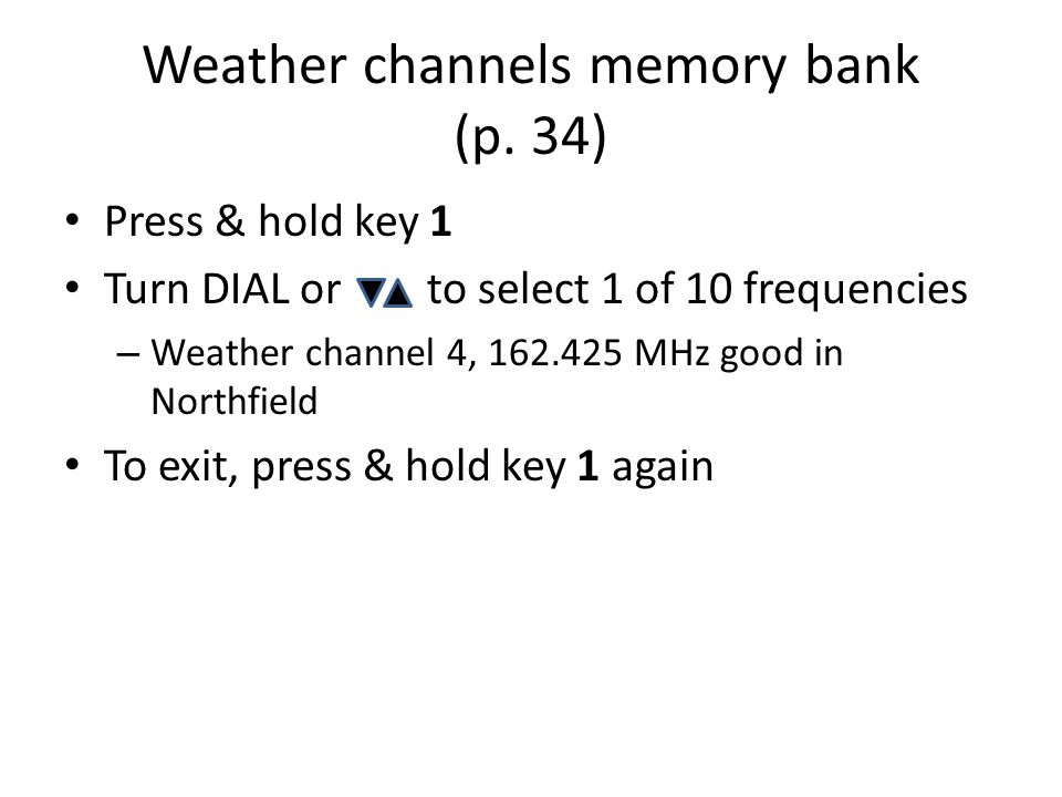 Weather channels memory bank (p. 34)