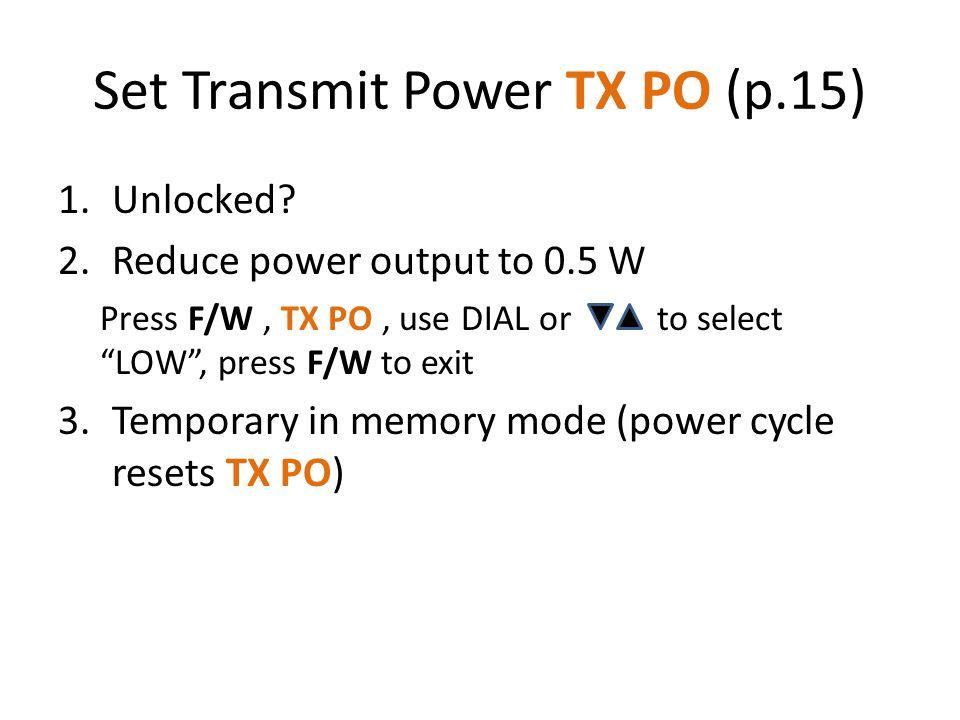 Set Transmit Power TX PO (p.15)