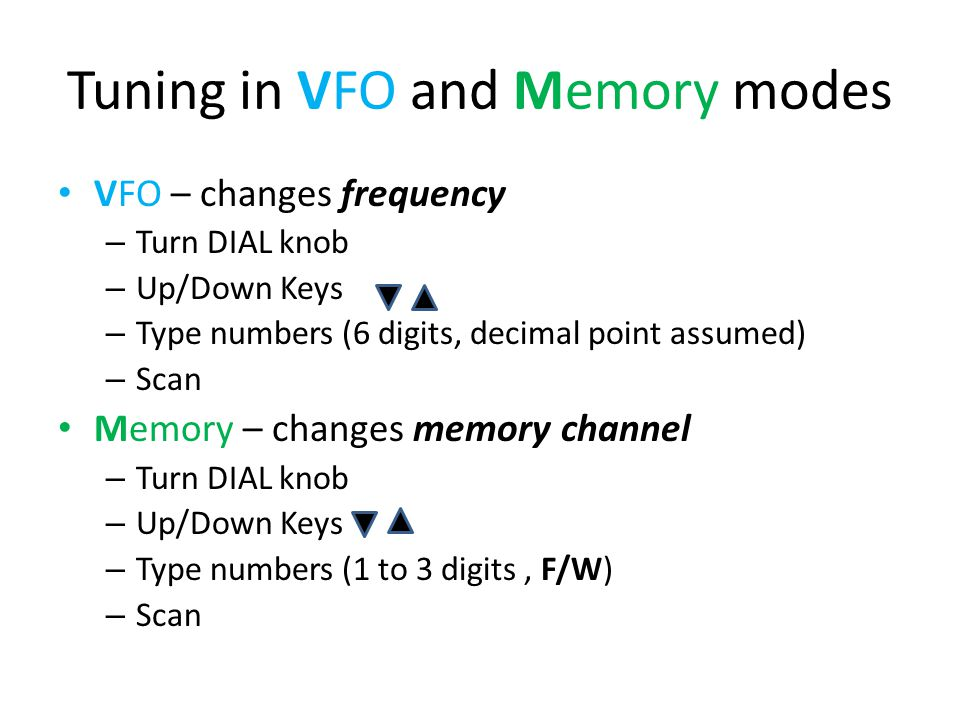 Tuning in VFO and Memory modes