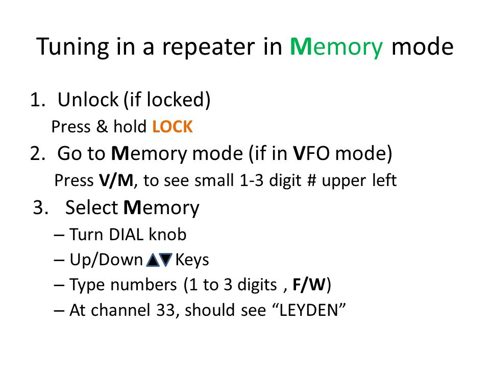 Tuning in a repeater in Memory mode