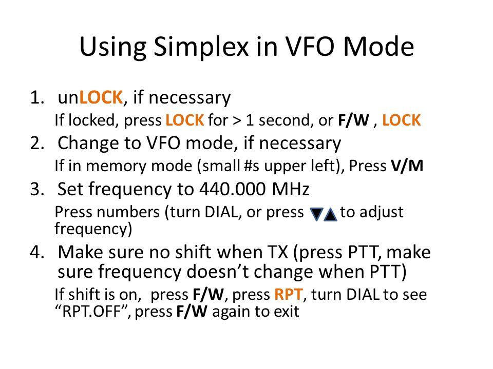 Using Simplex in VFO Mode
