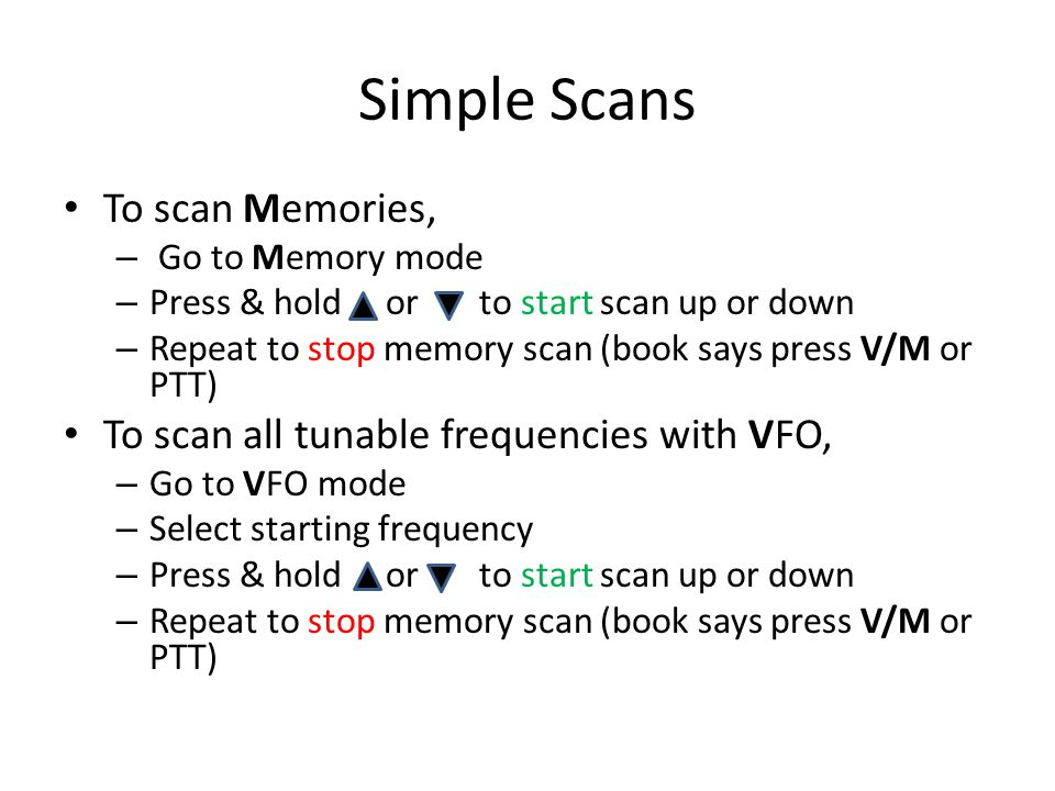 Simple Scans To scan Memories,
