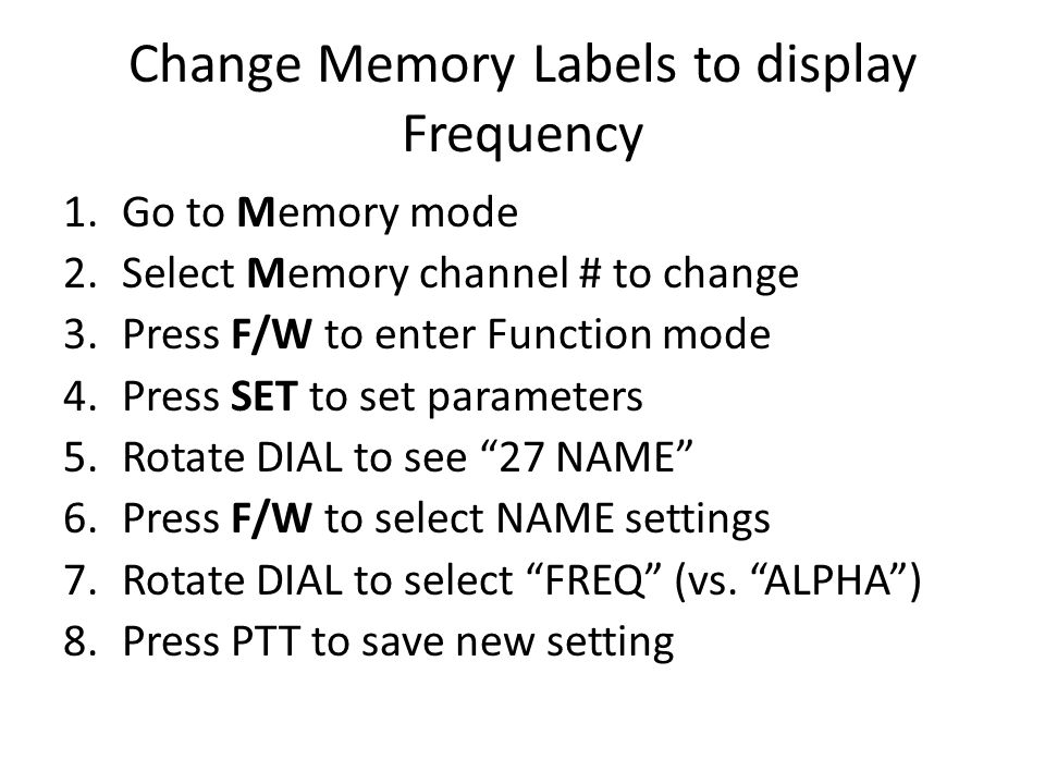 Change Memory Labels to display Frequency