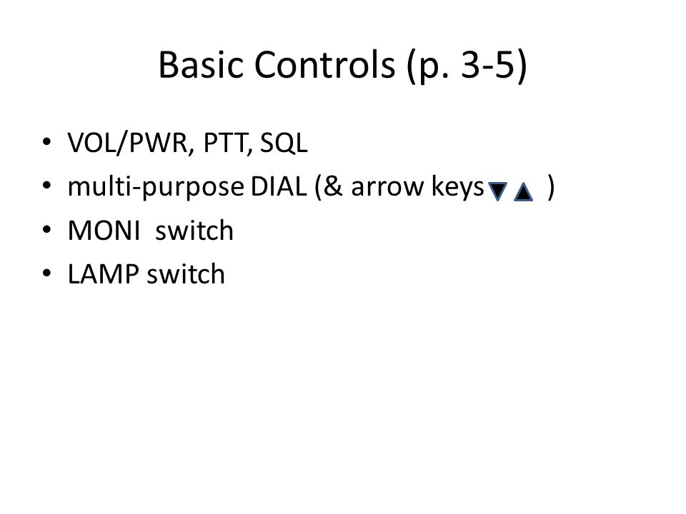 Basic Controls (p. 3-5) VOL/PWR, PTT, SQL