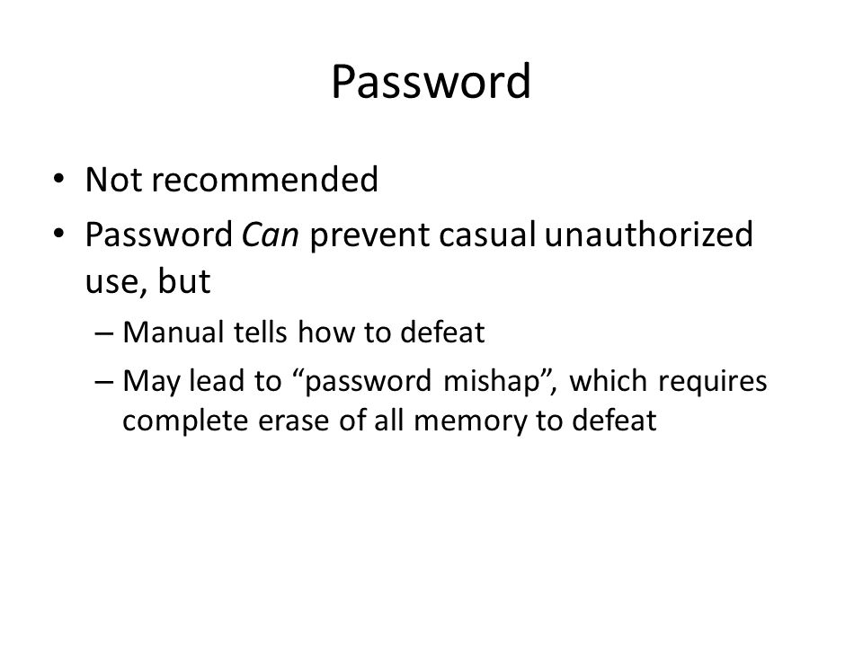 Password Not recommended