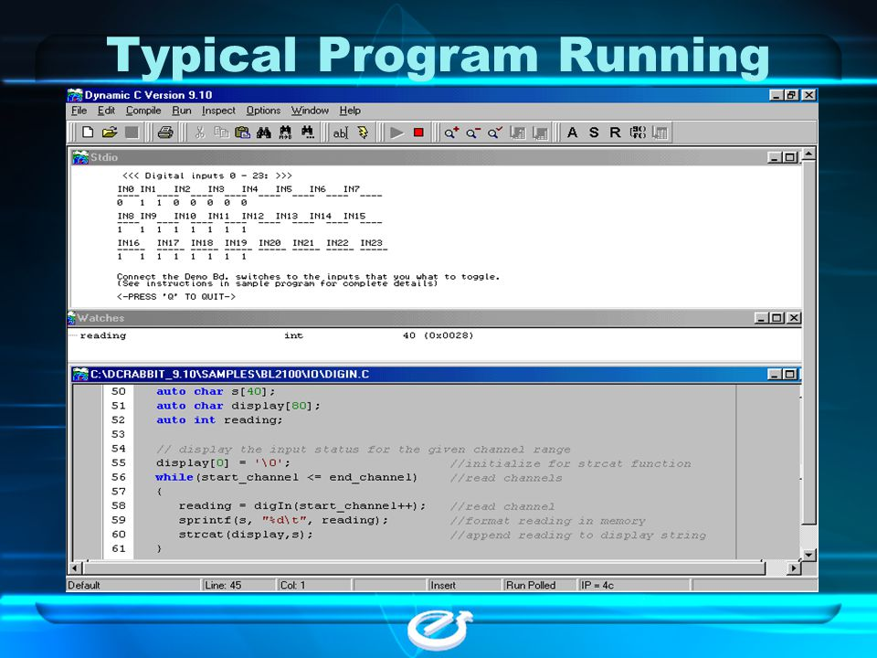 Typical Program Running
