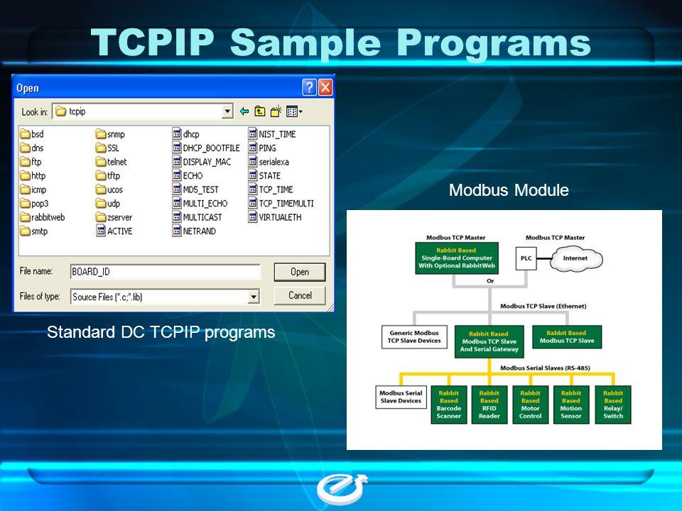 TCPIP Sample Programs Modbus Module Standard DC TCPIP programs