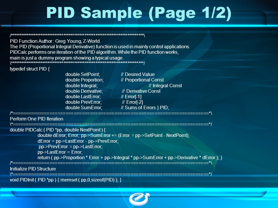 PID Sample (Page 1/2) /***************************************************************************\