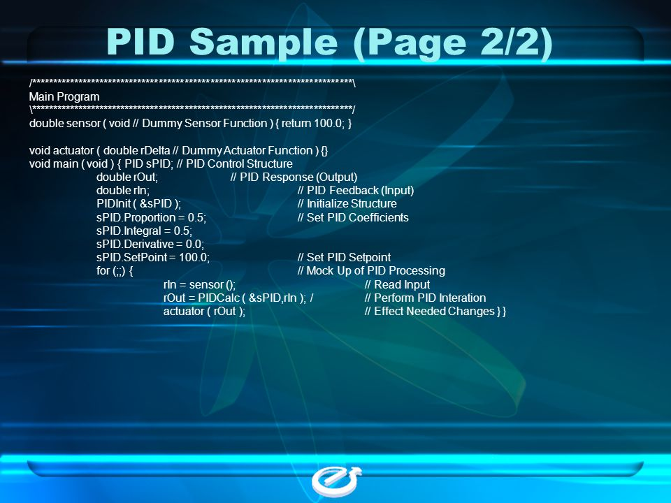 PID Sample (Page 2/2) /***************************************************************************\