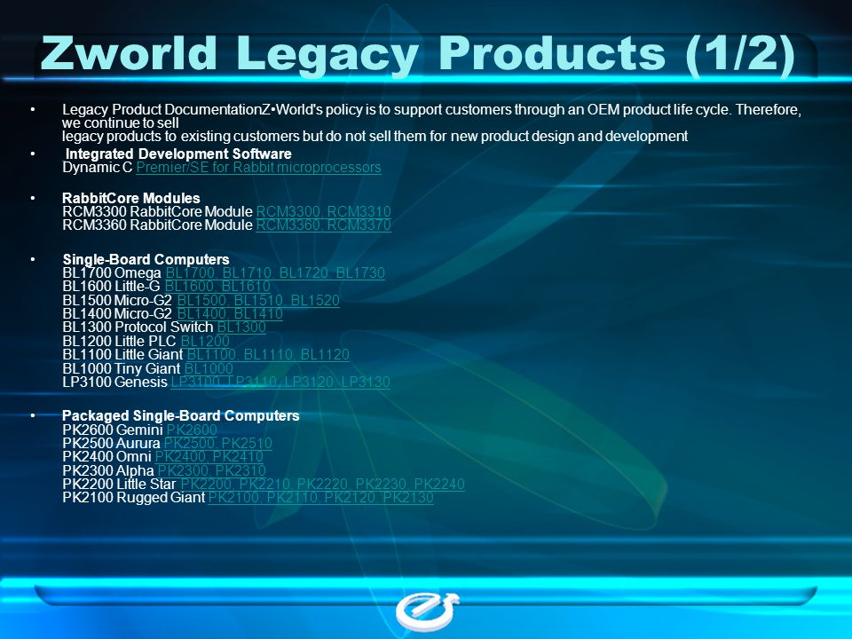 Zworld Legacy Products (1/2)