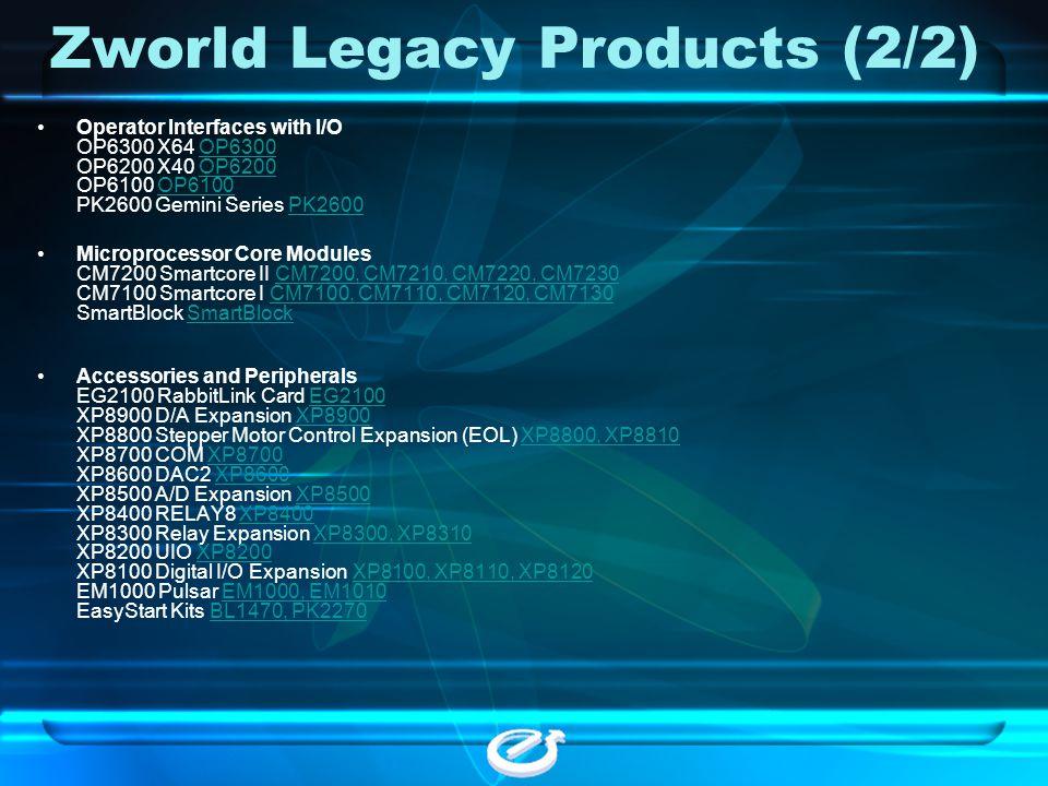 Zworld Legacy Products (2/2)