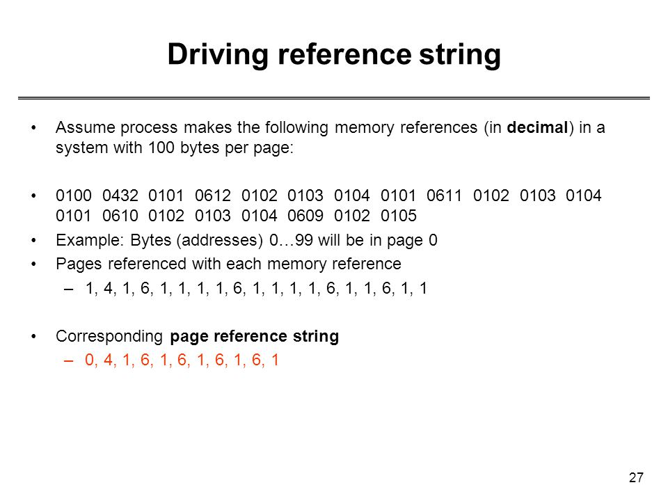Driving reference string