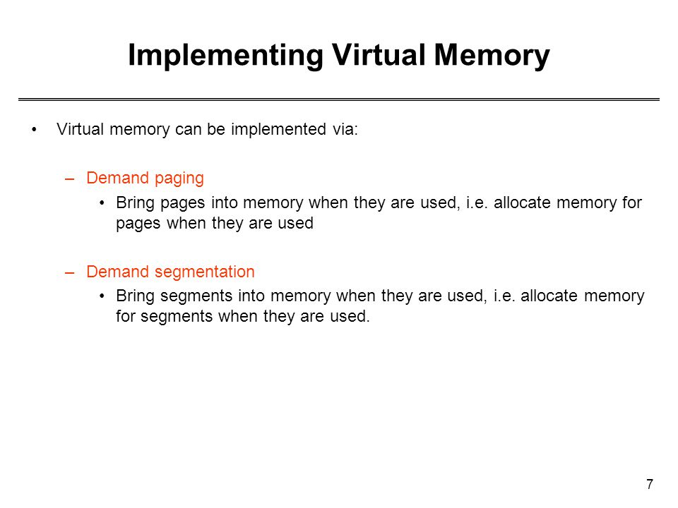 Implementing Virtual Memory