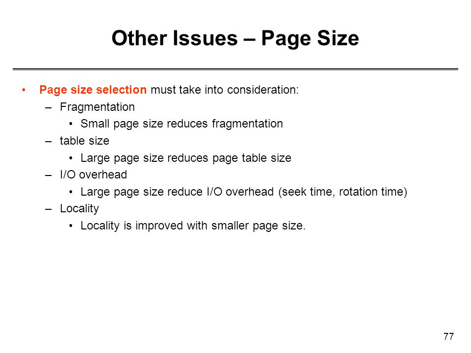 Other Issues – Page Size