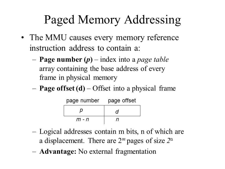 Paged Memory Addressing