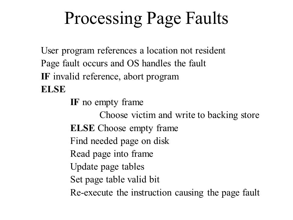 Processing Page Faults