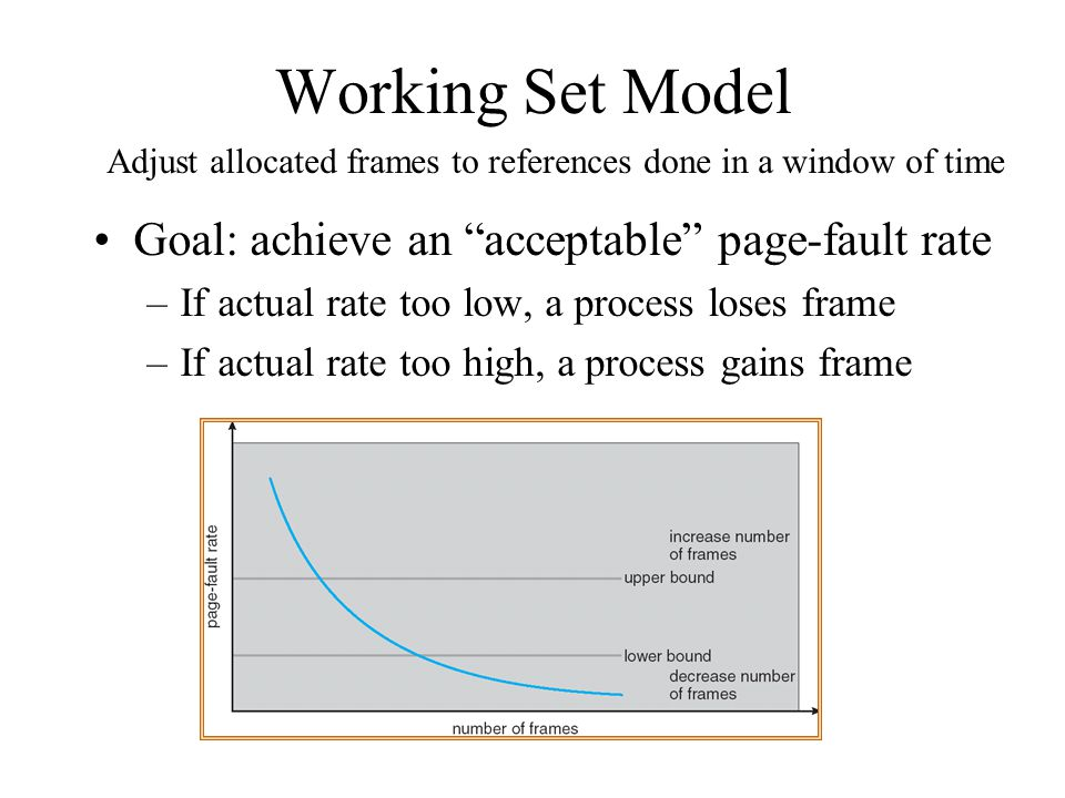 Working Set Model Goal: achieve an acceptable page-fault rate