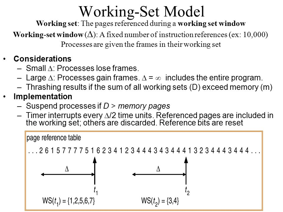 Working-Set Model Working set: The pages referenced during a working set window.