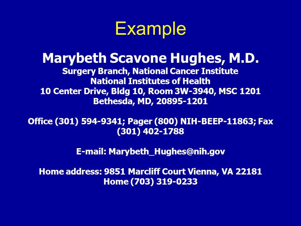Example Marybeth Scavone Hughes, M.D.