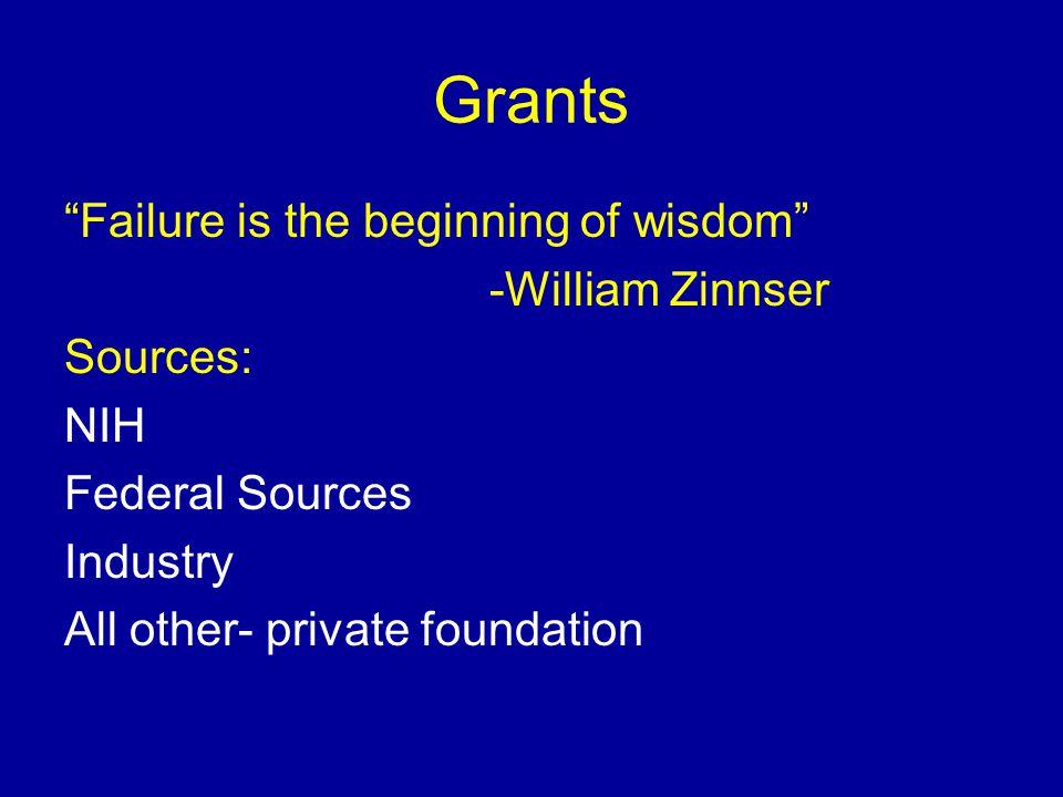 Grants Failure is the beginning of wisdom -William Zinnser Sources: