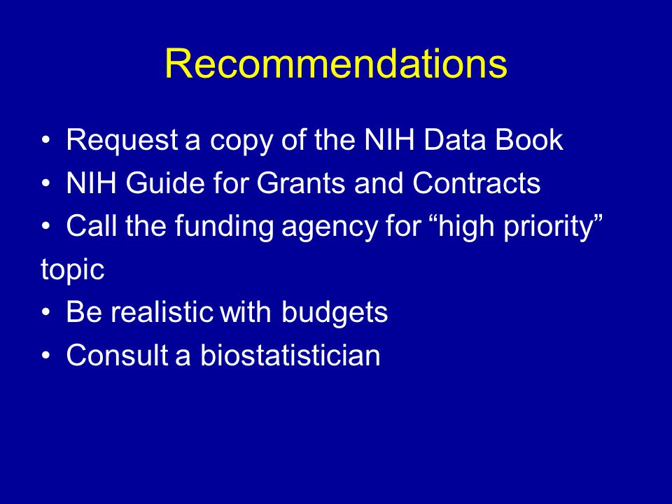 Recommendations Request a copy of the NIH Data Book