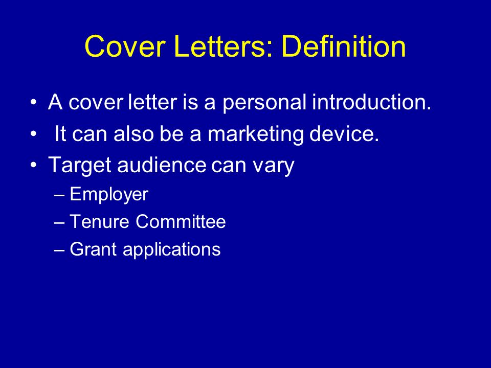 Cover Letters: Definition