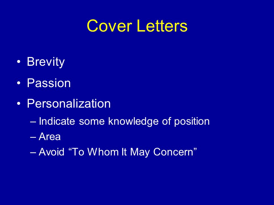 Cover Letters Brevity Passion Personalization