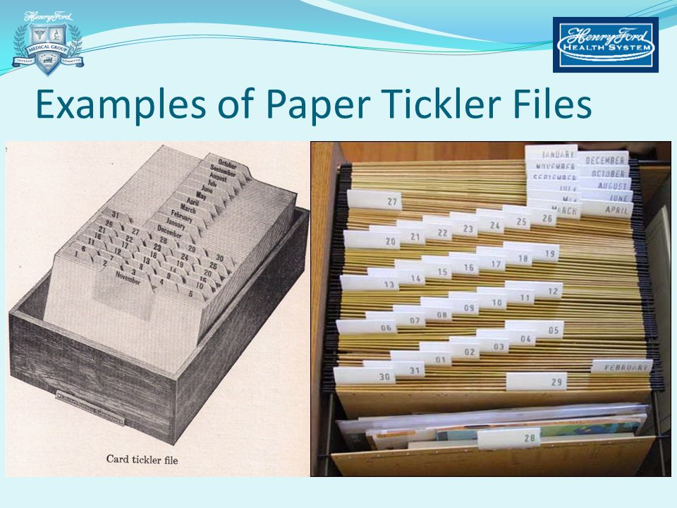 Examples of Paper Tickler Files