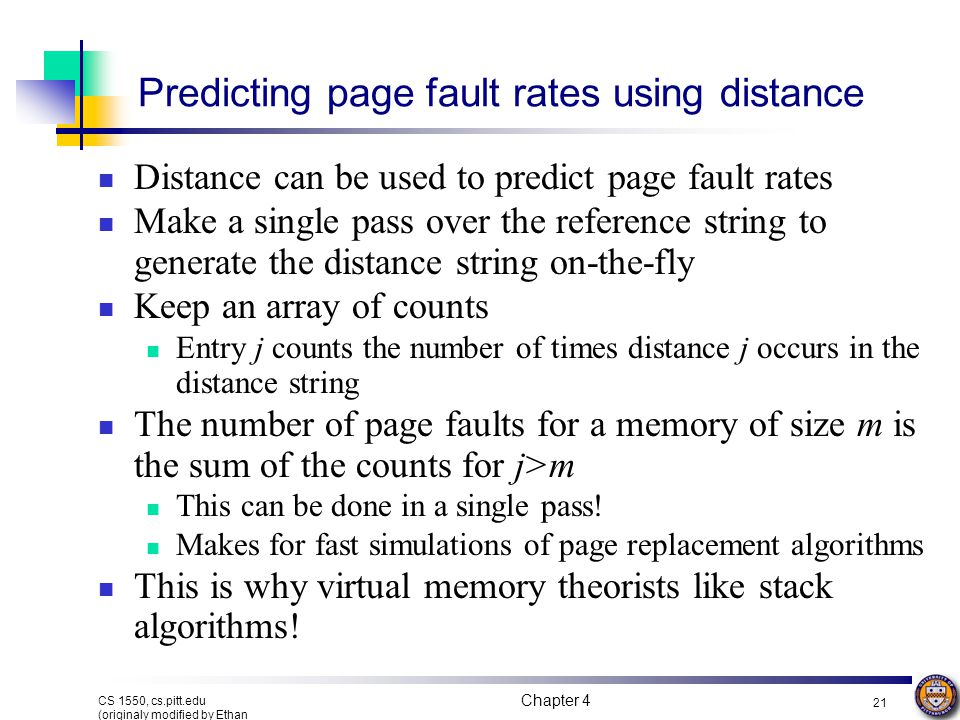 Predicting page fault rates using distance