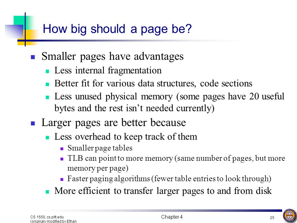 How big should a page be Smaller pages have advantages