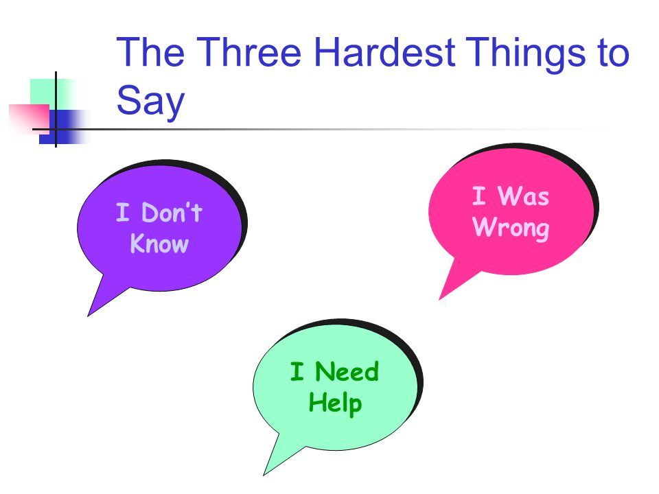 The Three Hardest Things to Say