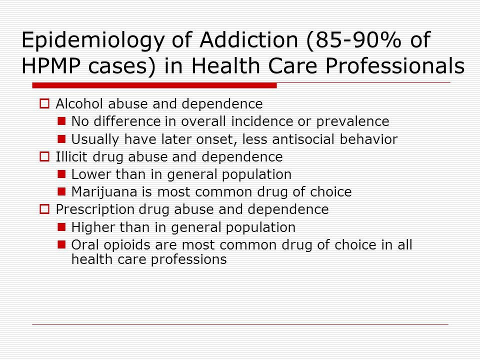 Epidemiology of Addiction (85-90% of HPMP cases) in Health Care Professionals