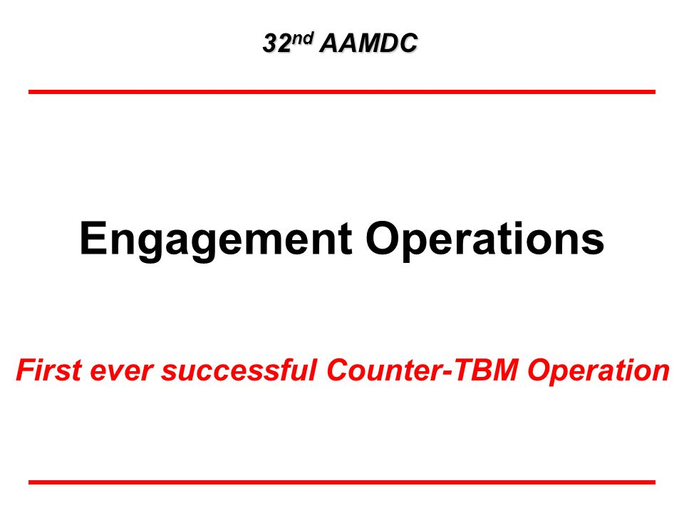 Engagement Operations First ever successful Counter-TBM Operation