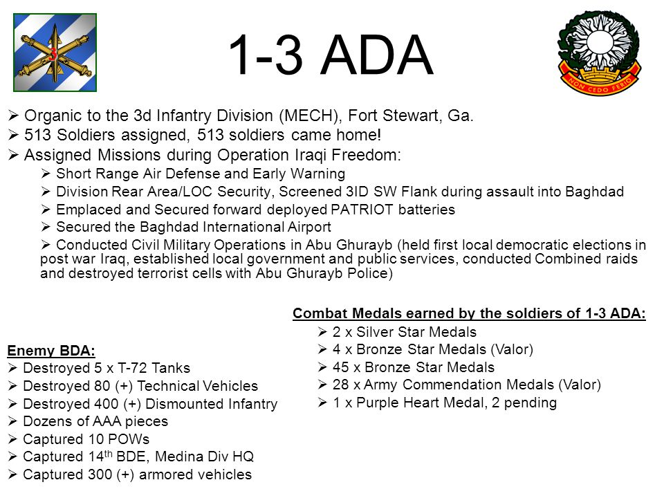 3 1-3 ADA. Organic to the 3d Infantry Division (MECH), Fort Stewart, Ga. 513 Soldiers assigned, 513 soldiers came home!
