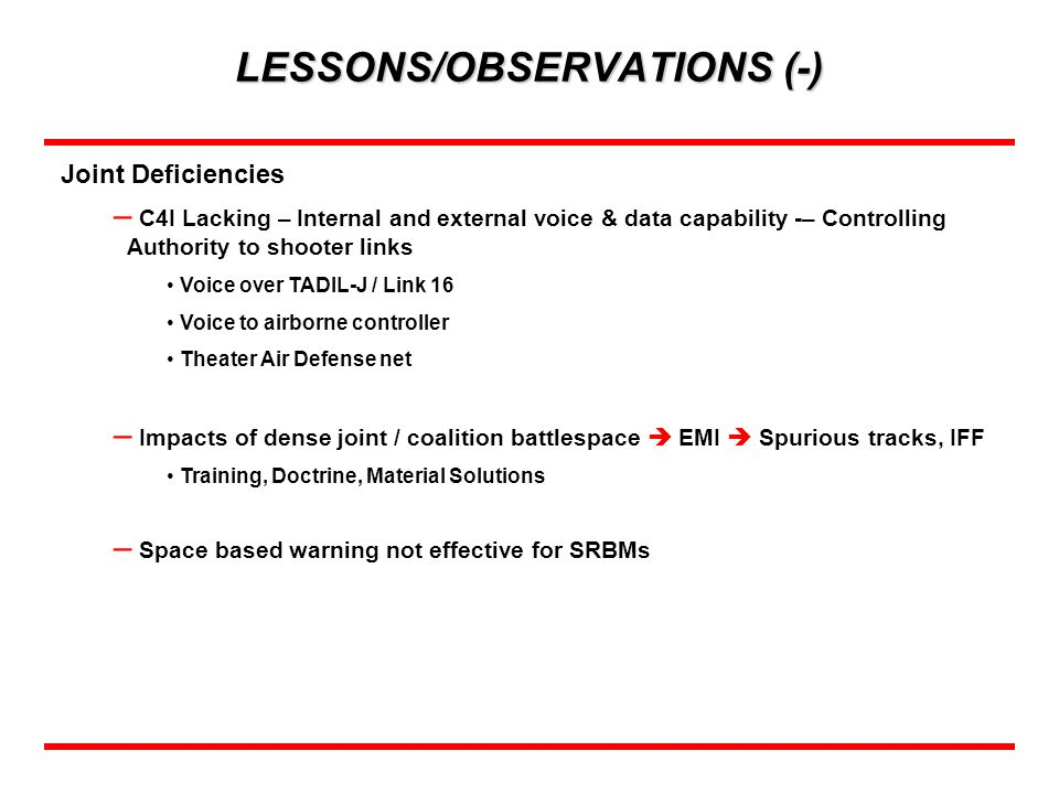 LESSONS/OBSERVATIONS (-)