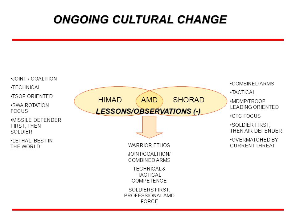 ONGOING CULTURAL CHANGE LESSONS/OBSERVATIONS (-)